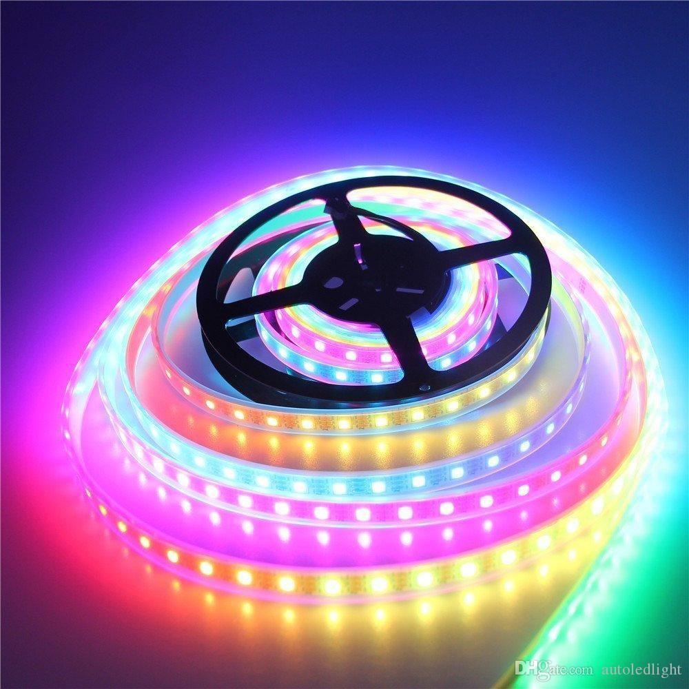 16.4ft 300 LED'ler WS2812B Bireysel Adreslenebilir 5050 RGB Şerit LED Işık LED Piksel Esnek Lamba Tüp Su geçirmez Beyaz PCB