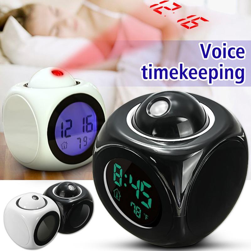 Proiezione LED orologio parlante Voice Alarm Clock Time Digital Display temperatura Bianco / Nero Colori 80 * 80 * 100mm LZ0435 all'ingrosso