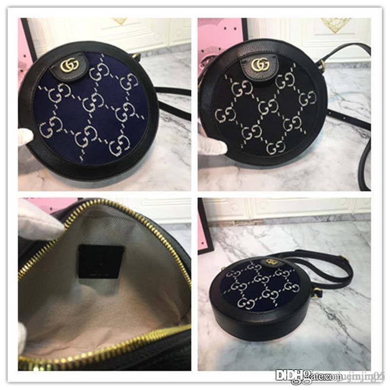 2019GUCCCI GG Kadife yuvarlak omuz sırt çantası, mini yuvarlak omuz çantası siyah süet Boyutu: 19 * 19 * 5CM