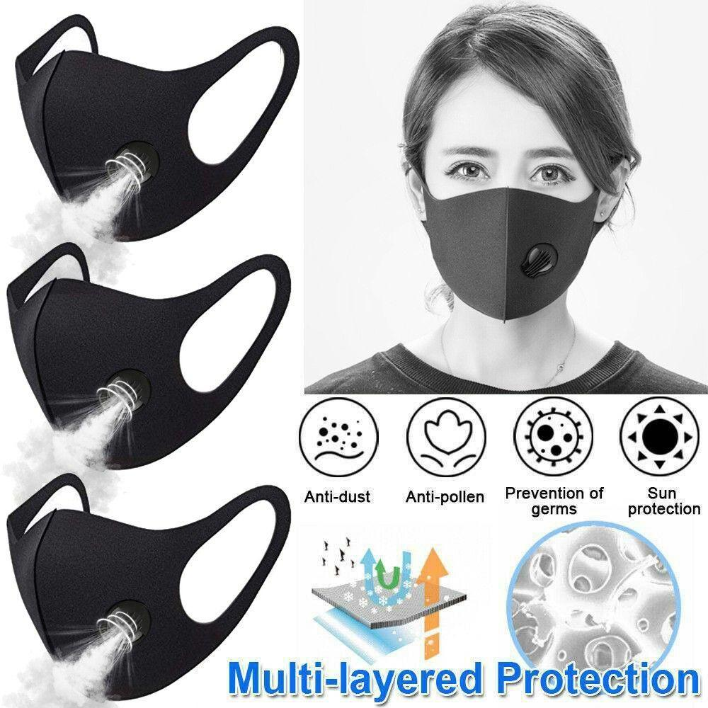 3pc Anti Smoke Dust Air Purifying PM2.5 Face Mask Carbon Filter Multi Layer