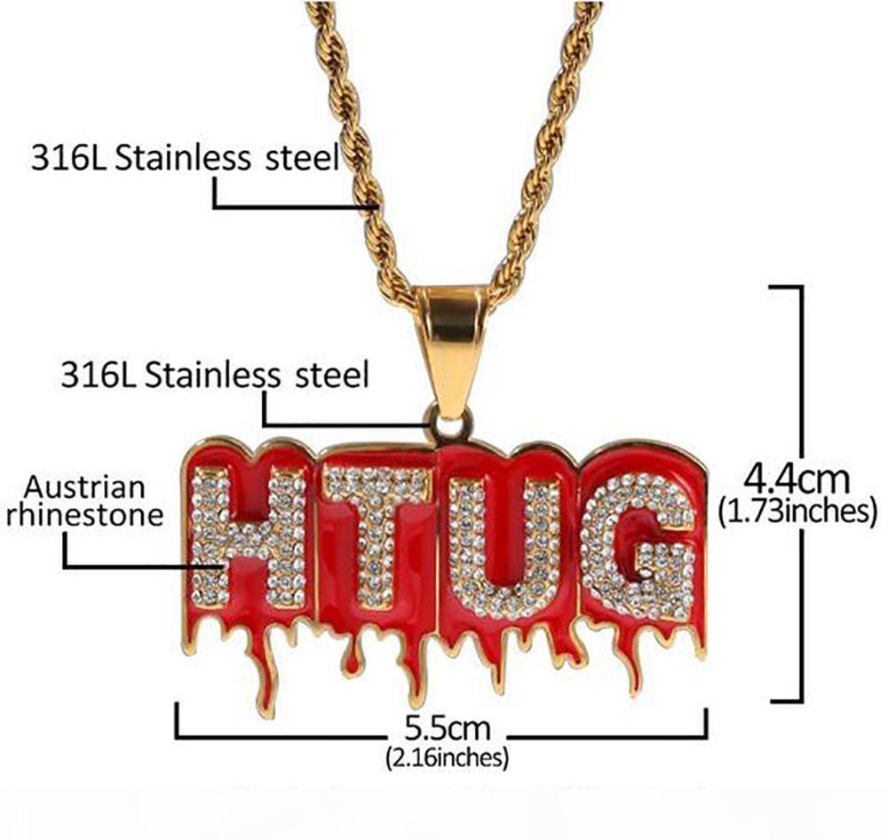 3mm 24inch Halat Zincir ile bir buzlu Out Kırmızı Lav Htug kolye kolye 18k altın kaplama 316l Paslanmaz Çelik kolye