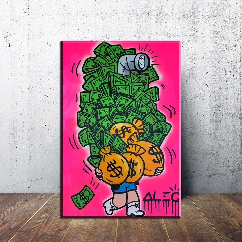 Alec Монополия Деньги Peeping, Холст Pieces Home Decor HD Печатный Современное искусство Живопись на холсте (Unframed / Framed)