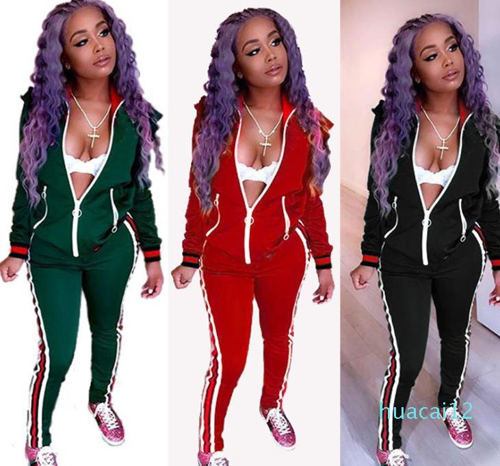 Fashion-NEW Two Piece Set Autumn Winter Zipper Jacket Top And Side Striped Pants Green Fitness Outfit Casual Suits Women Tracksuit