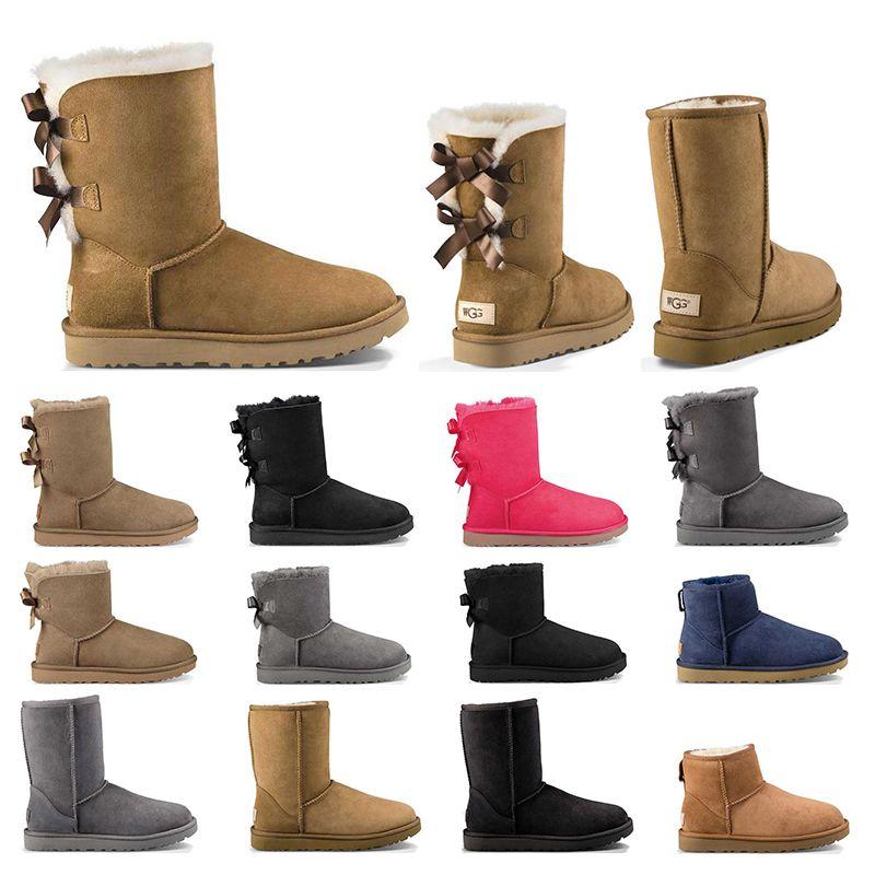 2020 Новая Австралия женщин девушка классические снегоступы лодыжки короткие лук меховой ботинок для зимы черный каштан женская обувь размер 36-41 мода на открытом воздухе