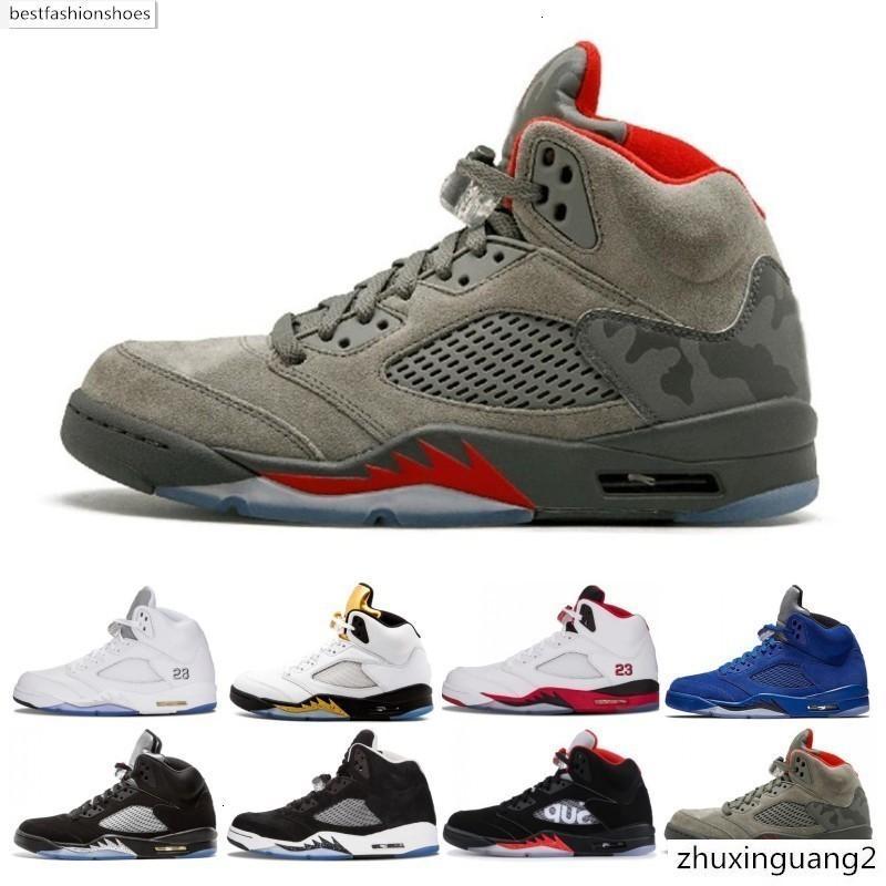 Zapatos de baloncesto 5 5s Hombres Mujeres Bred Cemento Luz del Aqua Laney Azul Rojo ante blanco metálico para hombre Negro tamaño atlético Deportes zapatilla de deporte 5-13