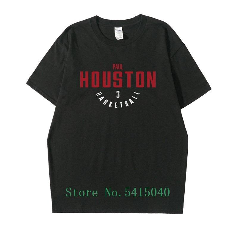 Houston Chris Paul Men's T-Shirt Top Fashion Letter 100% Cotton Men Tops Tshirt Loose Casual Tee Hip Hop Funny T Shirt