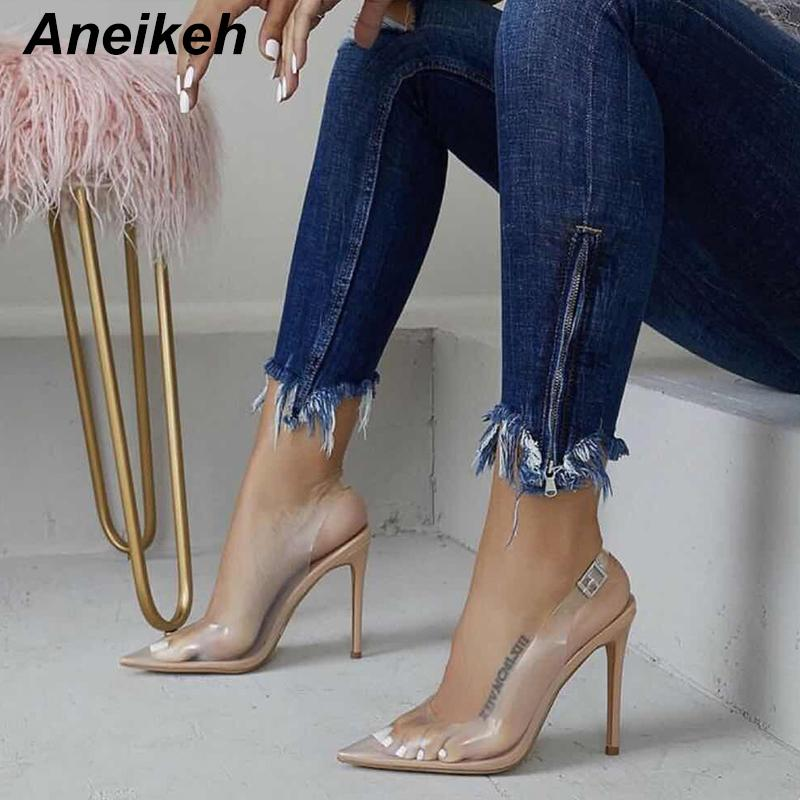 Aneikeh NEW Women Pumps 2019 Transparent Super High Heels Sexy Pointed Toe Buckle Strap Party Shoes For Lady Thin Heels Pumps T200731
