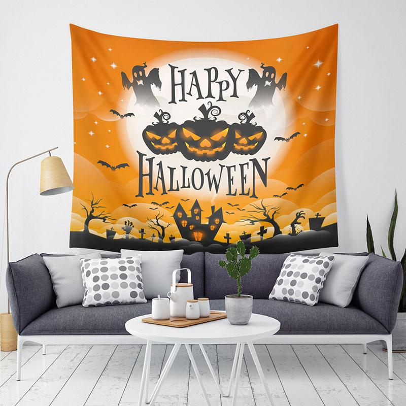 Halloween citrouille Tapestry Halloween Trick Treat Horreur Fantôme Tenture Tapisserie Accueil Party Decoration Sofa mur tapisserie BH2406 TQQ