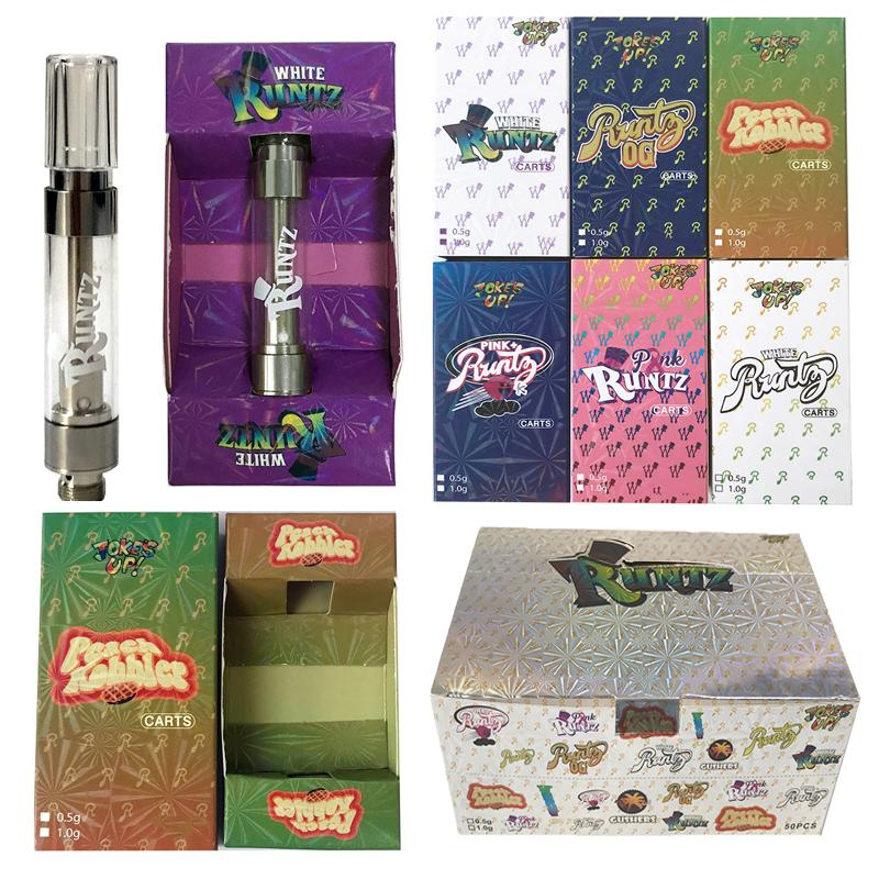 Runtz Empty Vape Cartridge Packaging Oil Dab Pen Wax 0.8ml 1.0ml Vaporizer Glass Tank Carts 510 Thread E Cigarettes