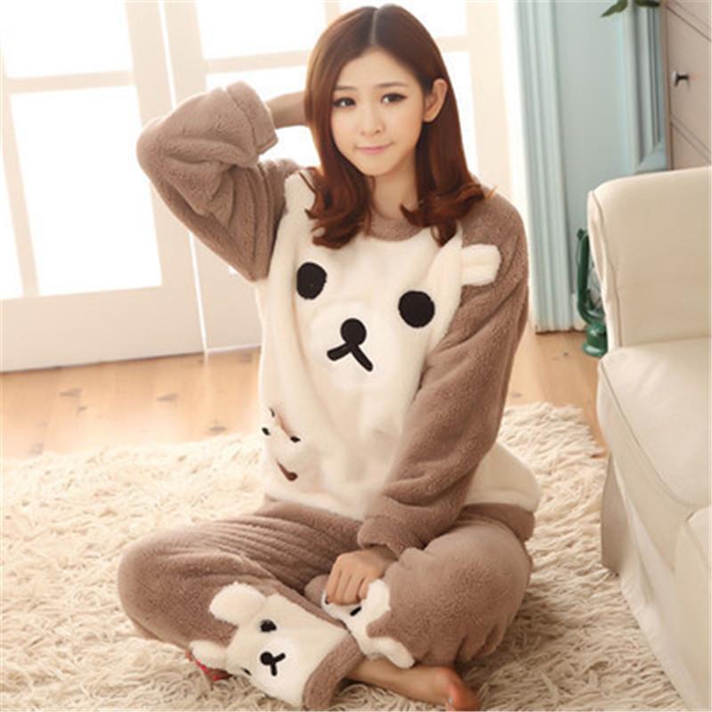 Song julho Mulheres Pajama Define 2019 Outono pijamas de inverno dos desenhos animados flanela grossa Quente Pijamas Fêmea de animal bonito Homewear Y200708