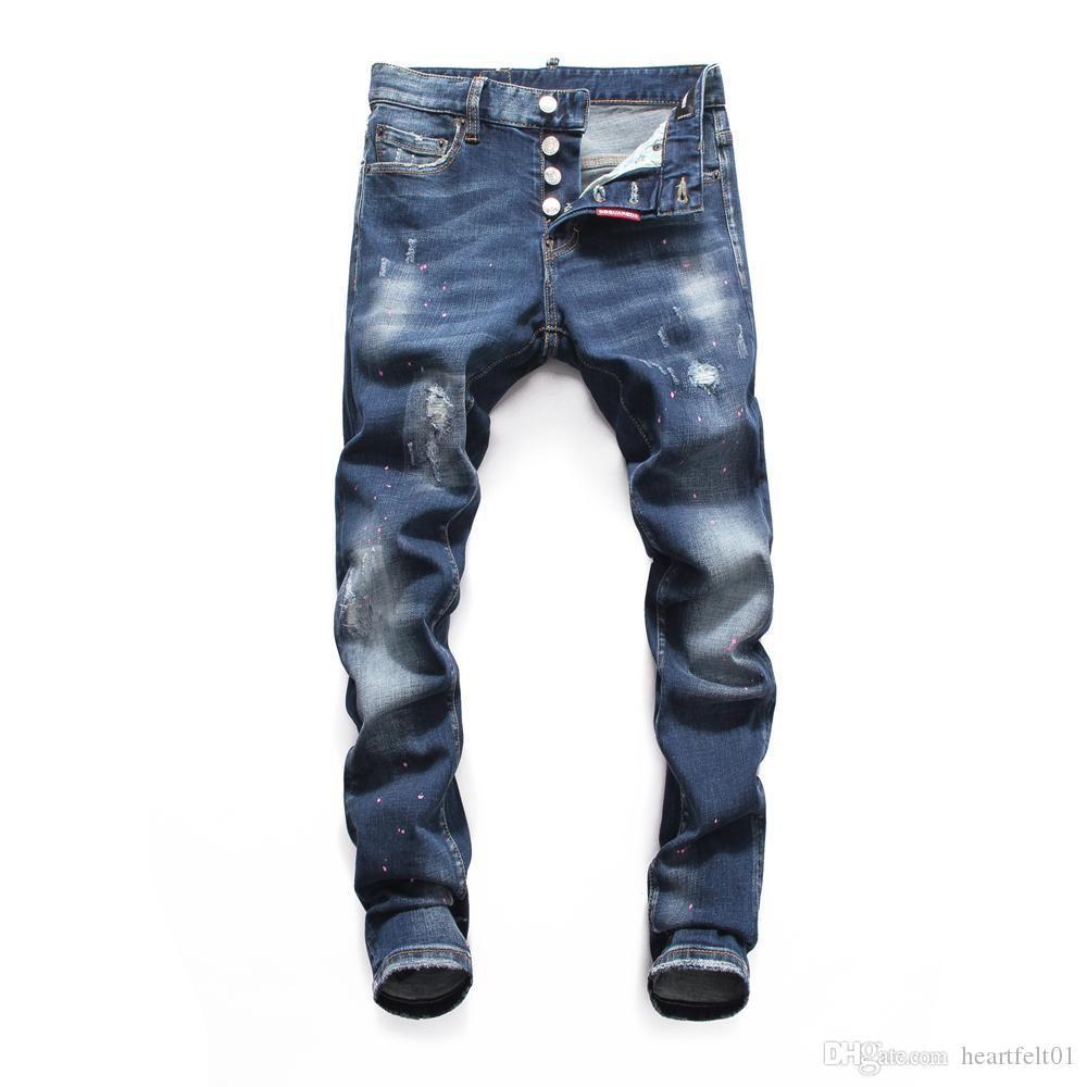 Marca Jeans Mens Luxury Designer Jeans Baggy motociclista cintura alta rasgado Rock Revival magro preta Men Jean jeckets calças compridas Calças 066