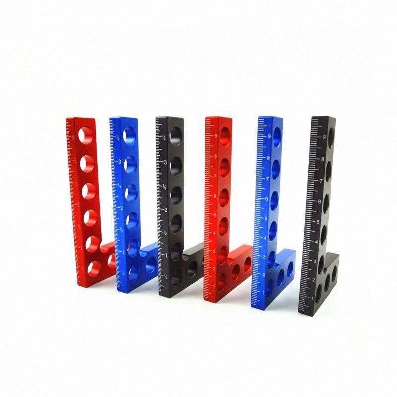 90 grados cuadrados Posicionamiento Regla de aleación de aluminio de ángulo recto Carpintería Carpintería Medición Herramientas K4SC #