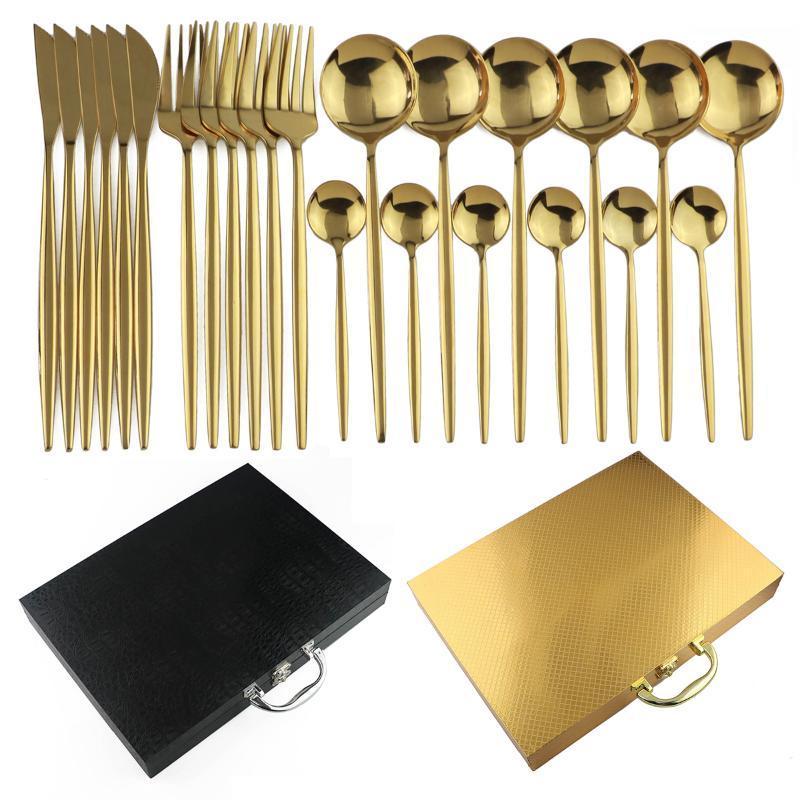 Yüksek Kalite Siyah Altın kaplı Bıçak Takımı Bıçak Çatal Kaşık Seti 304 Paslanmaz Çelik Siyah Çatal İçin Otel bulaşığı Hediye