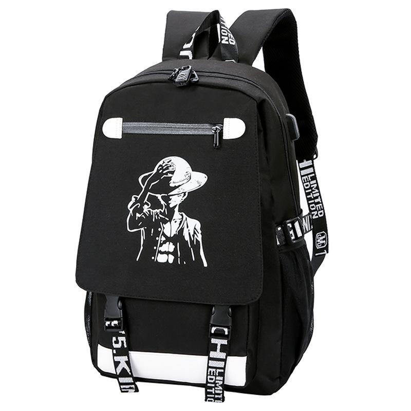 Light Light Backpack الكمبيوتر على ظهره طالب Nightlight Animation School الفتيان والفتيات حقيبة صغار طلاب المدارس الثانوية حقيبة الظهر WJJ