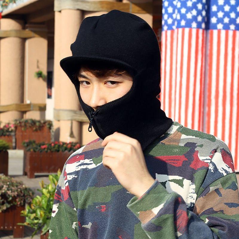 La maschera cappello di inverno unisex Knit Zipper sci con visiera maschera facciale Passamontagna maglia cappello 1pcs