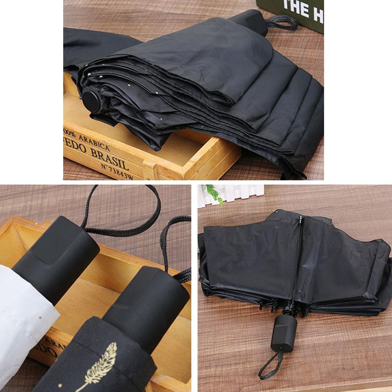 Перо ВС Shade Umbrella Black White Feather Солнечный Дождливый Зонт Три Складной черное покрытие Виниловые Солнцезащитный зонтик DH1394