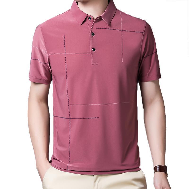2020 Summer Thin T-shirt Men New Casual Comfortable Soft Short Sleeve Slim Fit Turn-Down Collar Men Tshirt