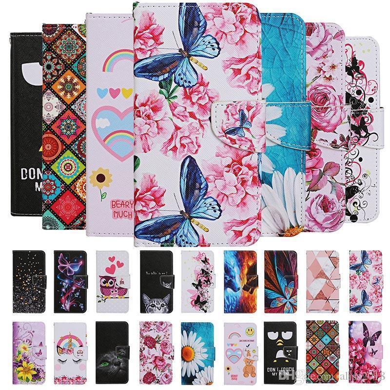 Fleur Hibou Loup papillon Porte-cartes Ours Rose flip Portefeuille en cuir pour Huawei P30 P40 PRO P30 P40 LITE Y5P Y6P Y7P P SMART 2020