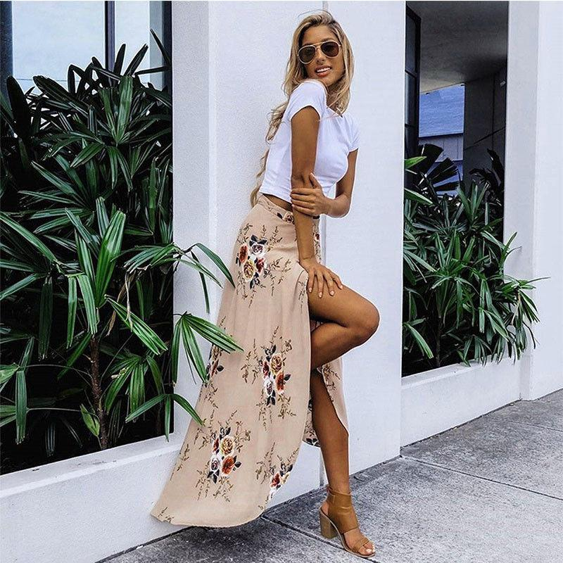 AprilGrass Brand Designer Summer Hot Women Stretch High Waist Floral Long Skirt Maxi Pleated Beach Casual Boho Polyester Floor-length Skirt