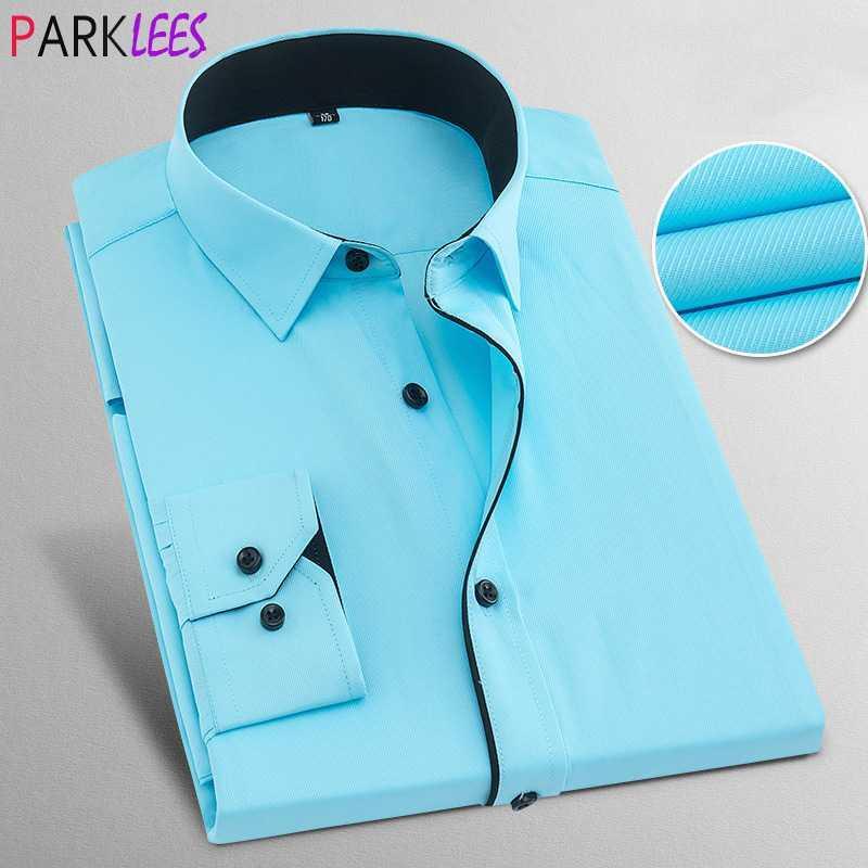Лоскутное Воротник мужские рубашки платья 2020 Марка Slim Fit с длинным рукавом синяя рубашка Мужчины Бизнес Делопроизводство рубашка с черным Трубопроводом
