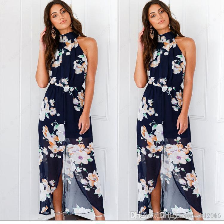 Women Dress halter Split Ribbon Sling Sexy For body back sleeveless Elegant Lady Long skirt Flower print Casual Loose Dresses Size S-XL