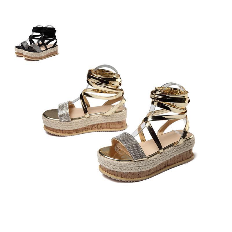 Los talones de cuñas de moda 2020 del tamaño grande de 42 serpiente al por mayor de los cordones de los zapatos de verano Impreso INS de las mujeres calientes de las sandalias
