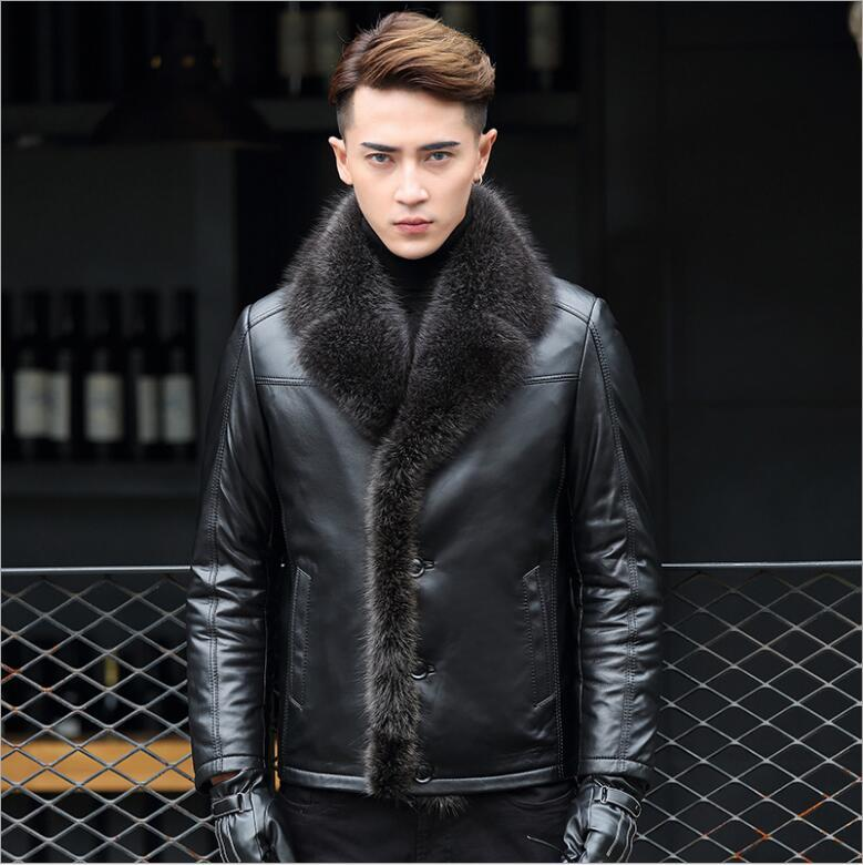 Winter Fashion Leather coat male genuine raccoon fur collar Jacket Leather Fur integrated man thick Warm slim feel fur coat
