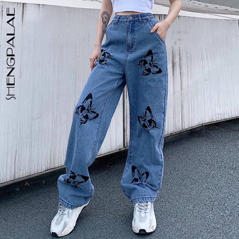 SHENGPALAE 2020 del nuevo del verano de los pantalones vaqueros vendimia de la mujer pantalones largos del vaquero flojo femenino Streetwear mariposa de la impresión Pantalones ZA4110 CX200721