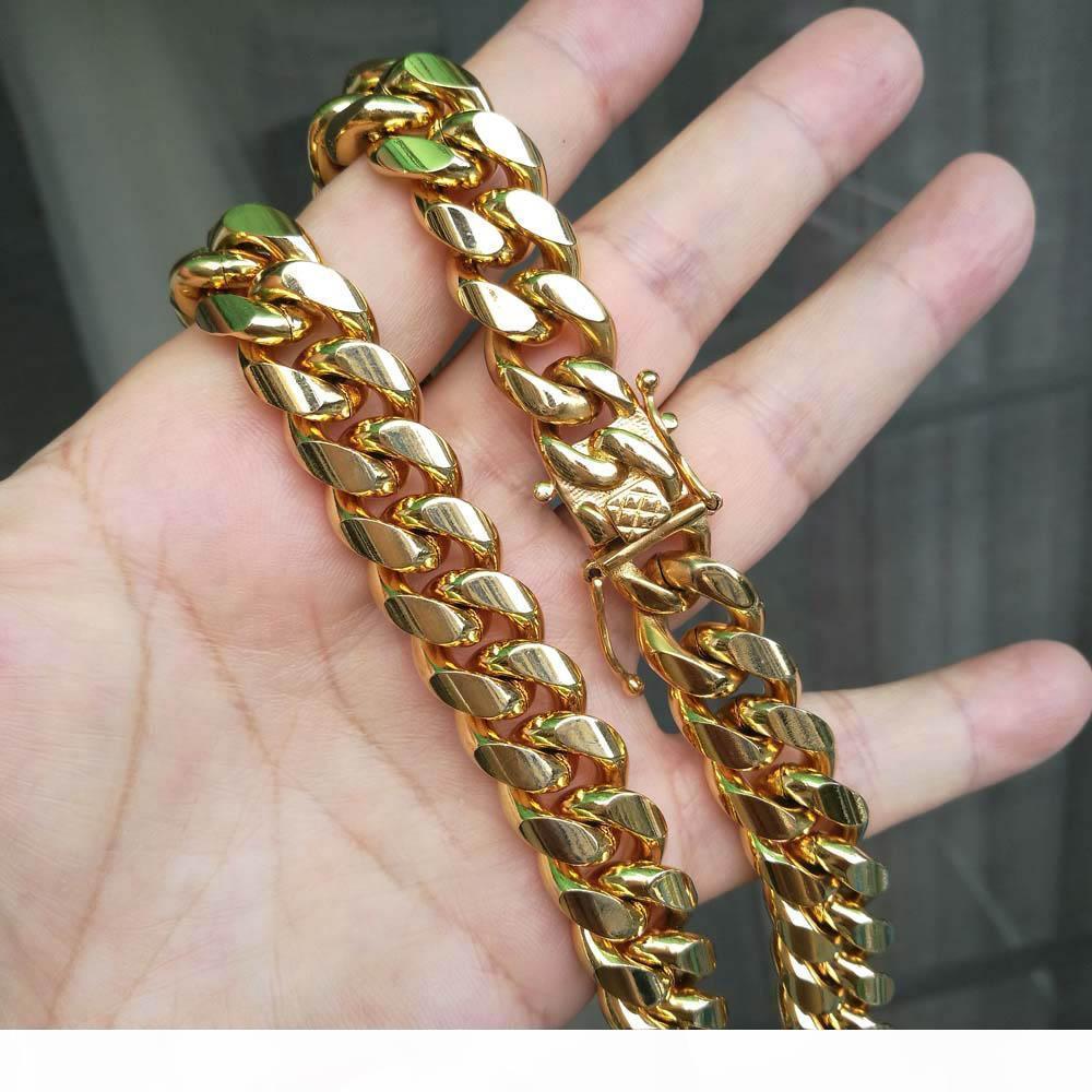 مجوهرات عالية الجودة الفولاذ المقاوم للصدأ مجموعات 18K مطلية بالذهب التنين قفل المشبك الكوبية لينك قلادة أساور للرجل كبح سلسلة 1.4cm واسعة