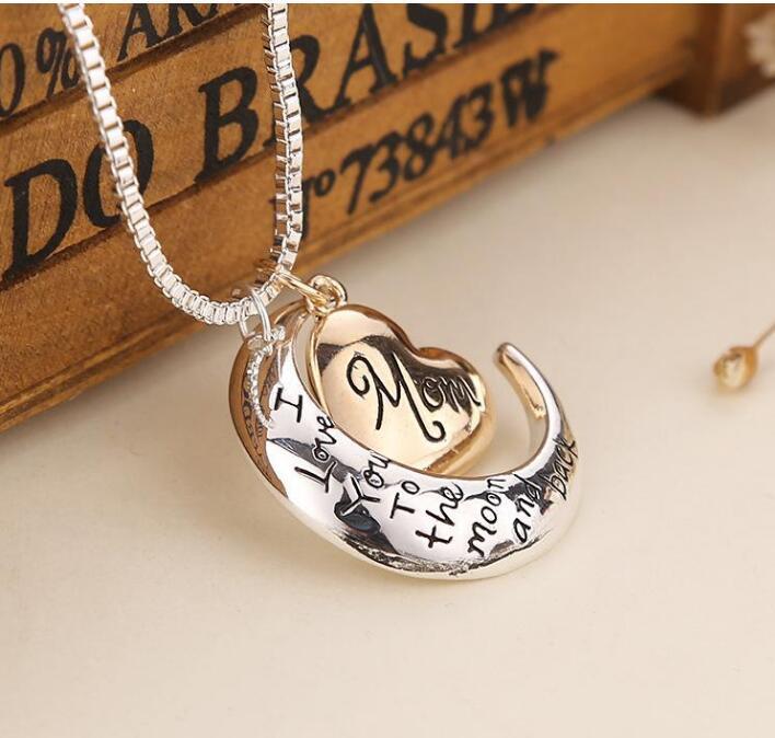 Joyería del corazón de alta calidad Te amo a la luna y la espalda del collar del colgante del collar de la madre del regalo del día de la Madre al por mayor de la joyería de moda GD463