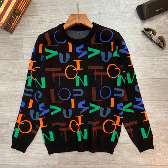Calidad Suéter de manga larga bordado de la letra de tejer suéter de impresión Pareja de mujeres 20 hombres de hombres de la moda suéter