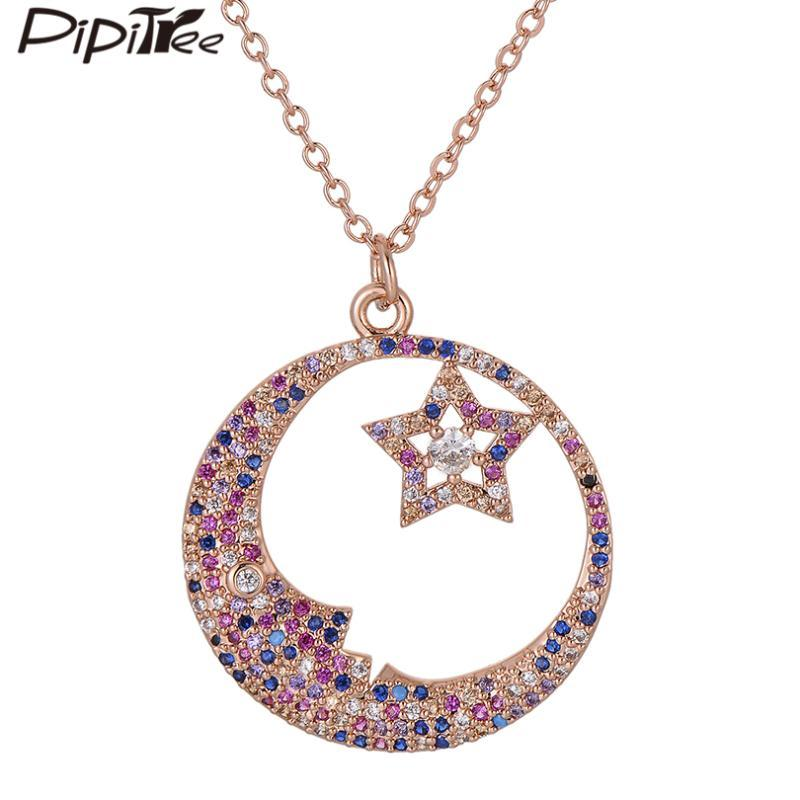 Pipitree Luxe pleine multi CZ Moon Star Collier avec pendentif en mode cristal autrichien colliers pour les femmes Lovers Bijoux de mariage
