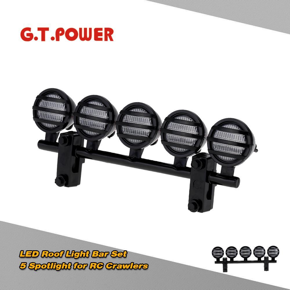 G.T.POWER LED Çatı Light Bar Seti 5 Spotlight 1/10 RC Tarayıcılar İçin