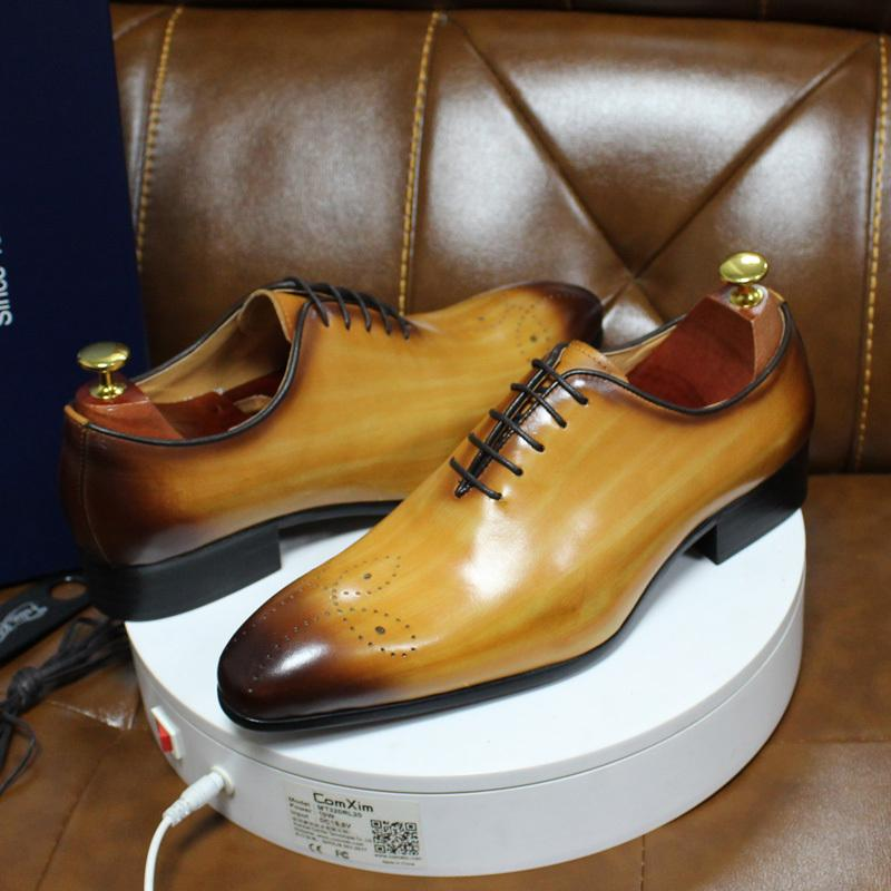 Daniel italiana Dress Mens Vera Pelle Blu Viola Oxford festa di nozze taglio intero scarpe formali per gli uomini CX200731