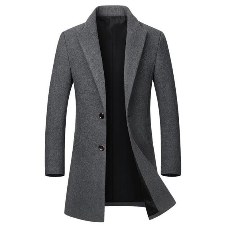 الشتاء مصمم رجالي طول سترة الأزياء سليم طية صدر السترة الرقبة منتصف معطف طويل عارضة لون الصلبة الرجال معاطف