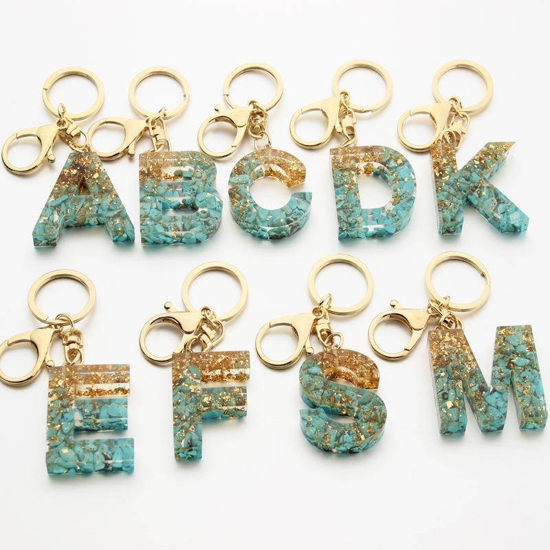 Luxury Car keyring Chains Crystal Epoxy Turquoise Gold Foil Women Personalized A-Z 0-9 Custom Figure Initial Letter Bag Charms Keychain Ring