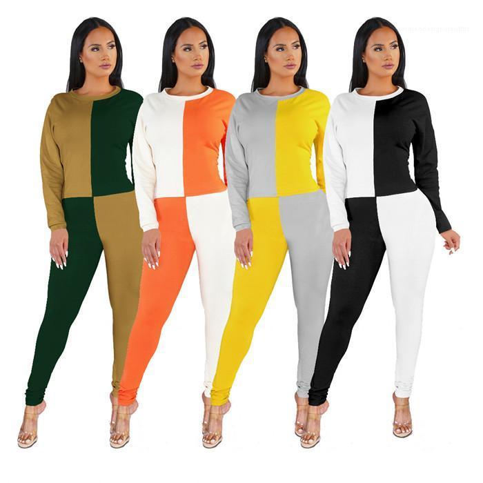 Uzun Kollu Kadın Dişiler Bahar Tasarımcı Patckwork Yeni Stil İnce Trucksuits Kontrast Renk 2PCS Suits O-boyun ayarlar