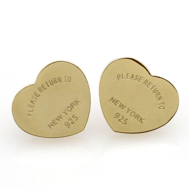 Brincos de coração de três cores para mulheres românticas adoráveis brincos de garanhão de aço inoxidável com letras inglesas presente de jóias fina