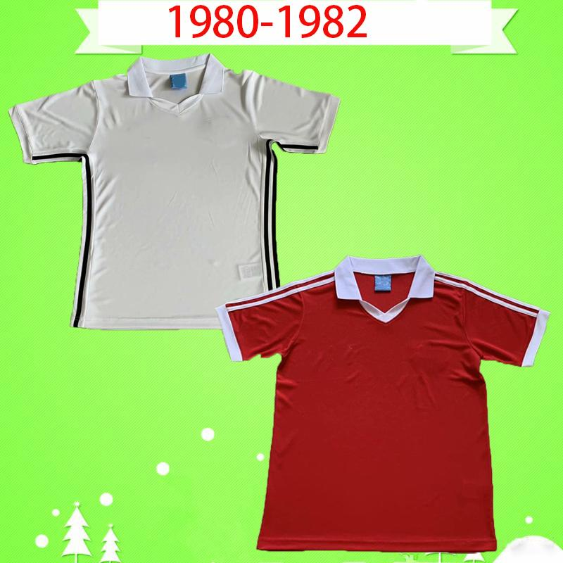 Manchester United 1980 CAMICIE 1982 RETRO MANCHESTER UNITED FOOTBALL 80 82 calcio maglie Vintage MAN UTD