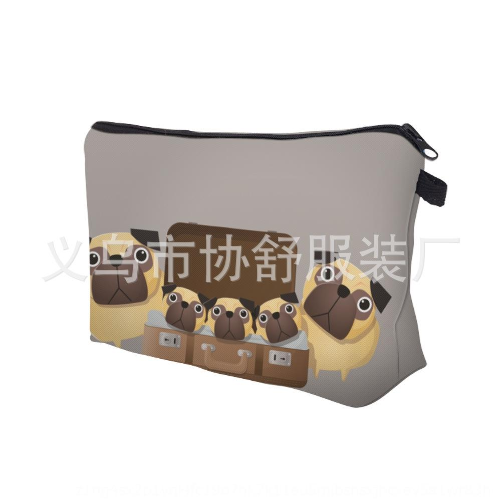 Новые HD мопса печататься ежедневной косметическими сумками косметической сумки сумки женщин