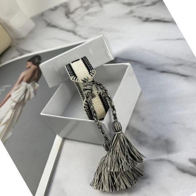 box braccialetto tessuto superiore donne di marca di cotone gioielli Lettera Firma ricamo a mano il braccialetto del braccialetto della nappa Lace-up Bracciale con scatola