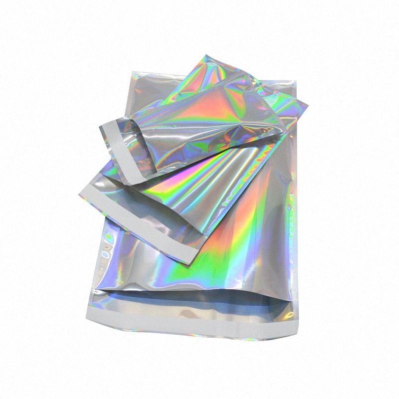 100pcs Laser Self Sealing Kunststoff Umschläge Mailing-Speicher-Beutel Holographic Gift Schmuck Poly Adhesive Courier Verpackungsbeutel YMol #