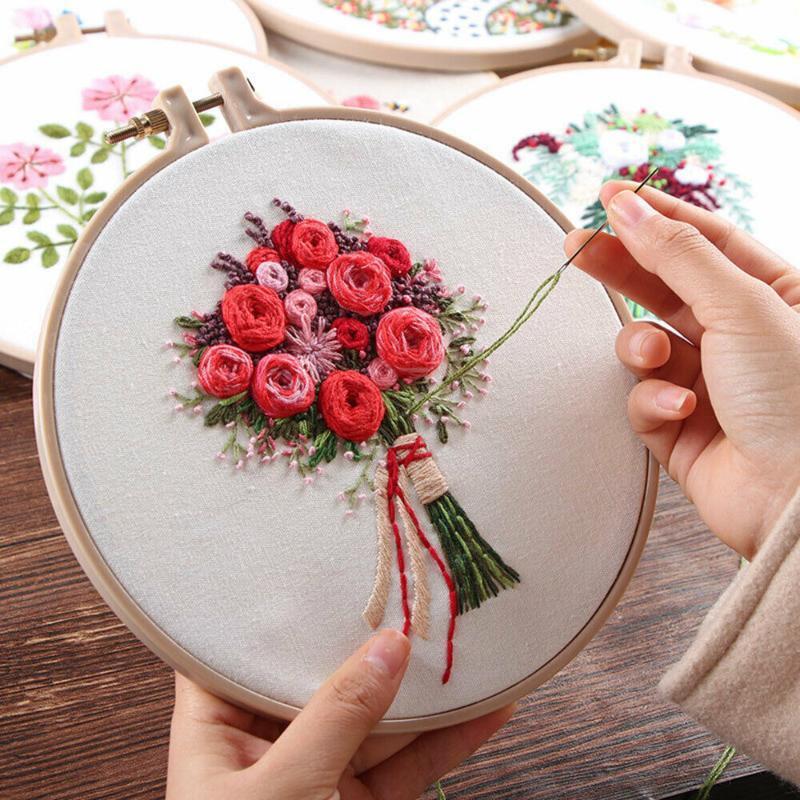 Motif Fleur Point de croix bricolage Needlework Aiguilles Kit débutant broderie Starter Set Dessins en tissu brodé coton