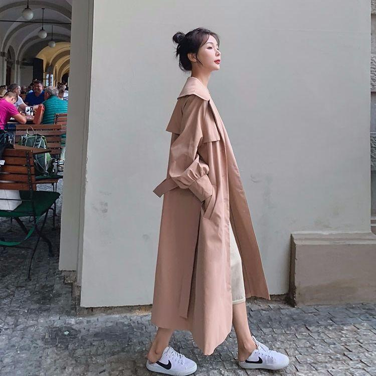 2020 Autumn New Casual Women Cotton X-Long Trench Coat dünne Einzel BreastedClothing Maxi-Oberbekleidung Gute Qualität J264