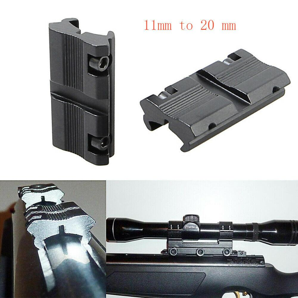 2PCS HQ 11mm to 20mm Dovetail to Weaver Rail Mount Tactical Rifle Adapter Scope Mount Converter Picatinny Aluminum Alloy FREE