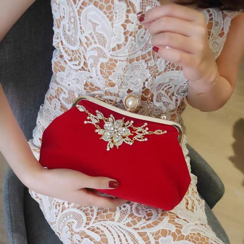 Portable women's new Hand dinner wedding fashion Diamond dinner chain fashion cheongsam handbag dress bag