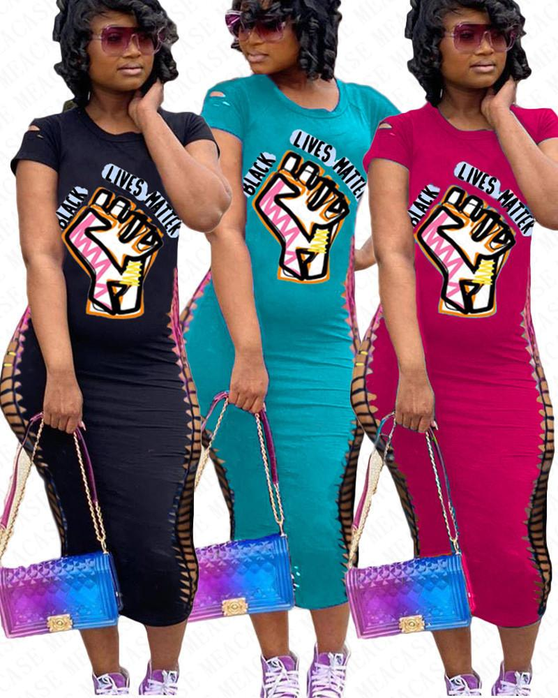 ЧЕРНЫЙ ЖИВЕТ ВЕЩЕСТВО Письма Печать тенниску длинные платья Женщины Сломанный Hole Короткие рукава платья Bodycon Тонкий Sexy One Piece юбки платье D71401