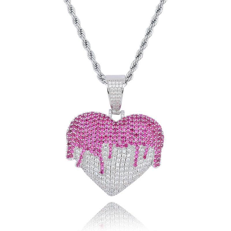 New Herz Kupfer-hängende Halskette mit Tennis Kette Gold Silber Iced Out KubikZircon Hip Hop Rock Schmuck Freund Weihnachtsgeschenk