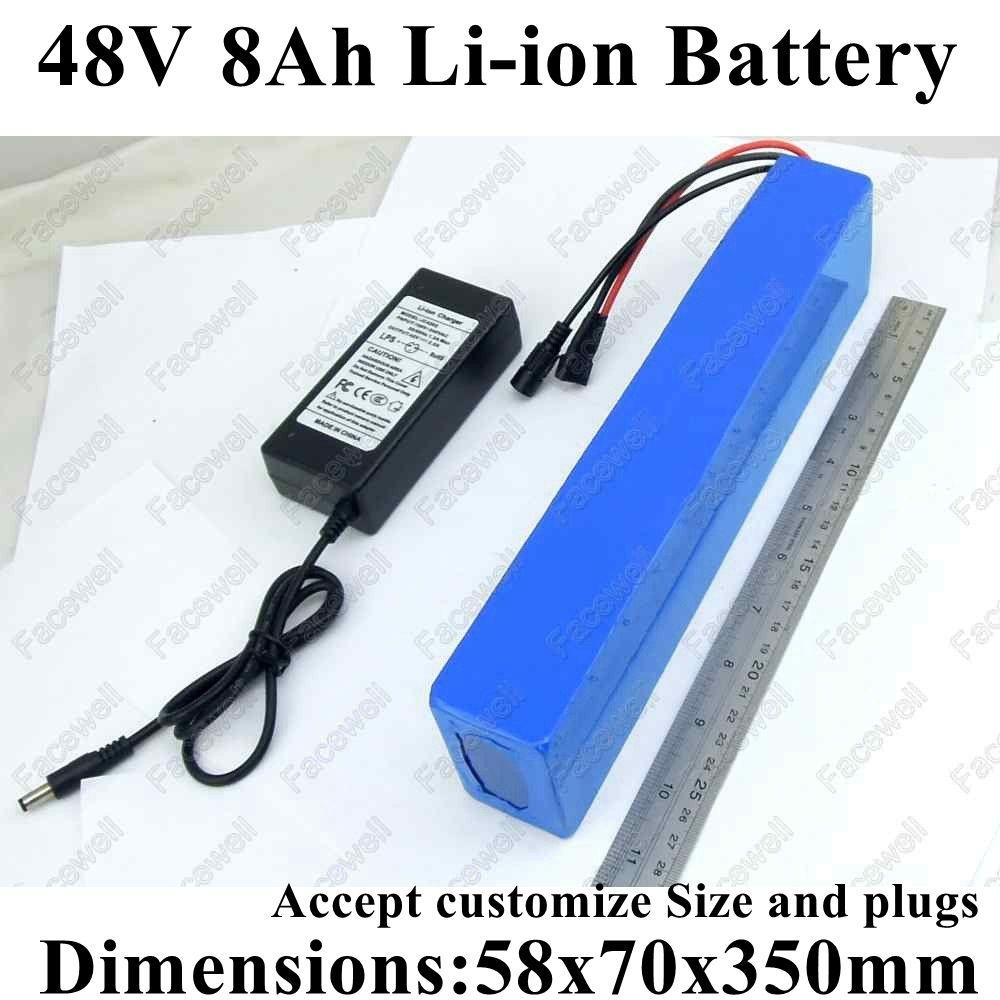 GTK modificar para requisitos particulares 48V 8AH bateria batería 48V de litio Li-ion para el cargador + 54.6v 3A bbs02 conector tamaño 500w 15A BMS OEM