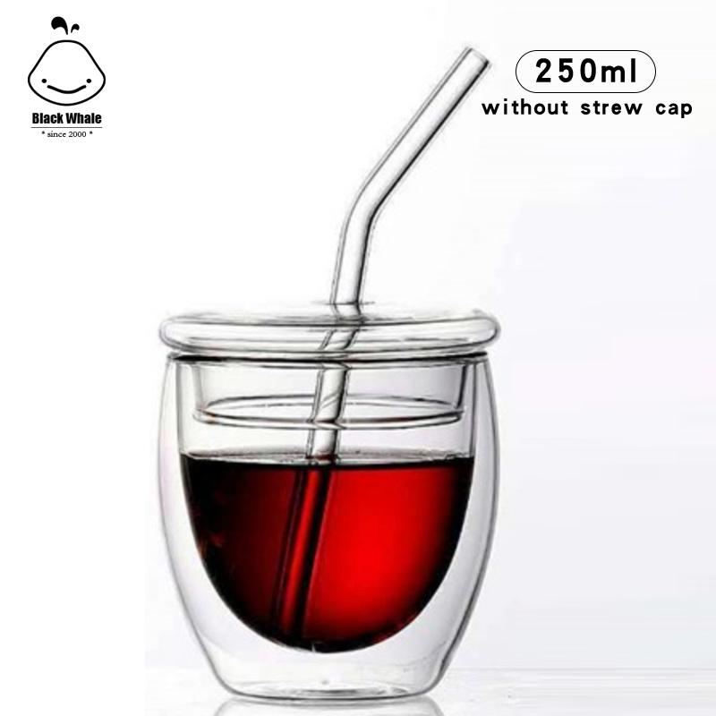Nouveau design Lunettes Tasses à espresso avec bouchon de verre pour boire du café d'eau de jus de tasse de lait thermique lunettes à double métier en main mur